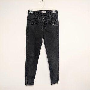 Free People Button Fly Faded Black Jeans 26